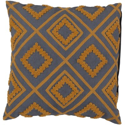 Lindsey Diamond Trimming Throw Pillow Size: 18, Color: Blue Flagstone/Amber, Filler: Down