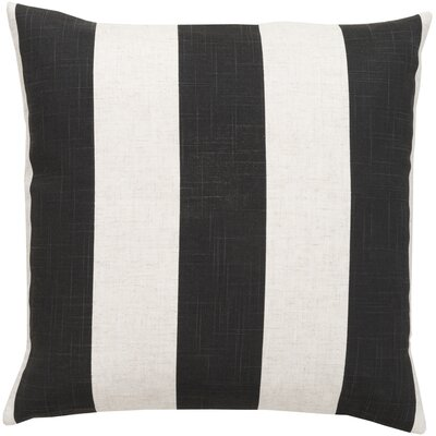 La Jara Stripe Throw Pillow Size: 18 H x 18 W, Color: Gray / Ivory, Filler: Down