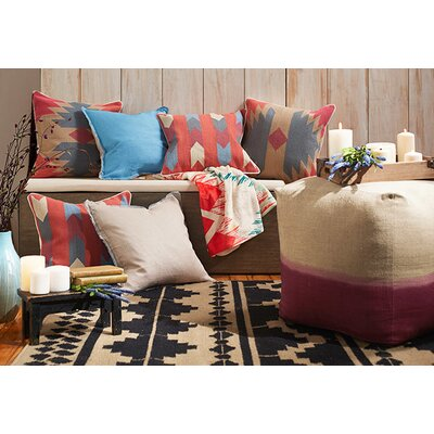 Todd Square Cotton Throw Pillow Size: 22 H x 22 W x 4 D, Color: Beige, Filler: Polyester