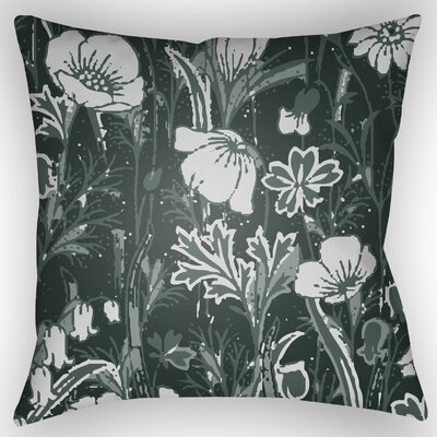 Teena Floral Throw Pillow Size: 20 H x 20 W x 4 D, Color: Dark Sea