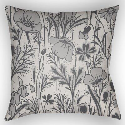 Teena Floral Throw Pillow Size: 20 H x 20 W x 4 D, Color: Grey