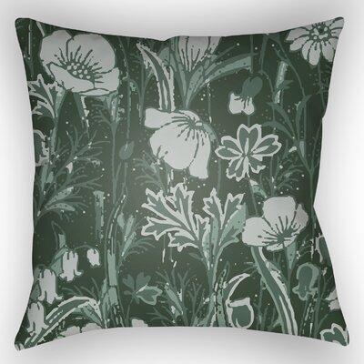 Teena Floral Throw Pillow Color: Dark Green, Size: 22 H x 22 W x 5 D