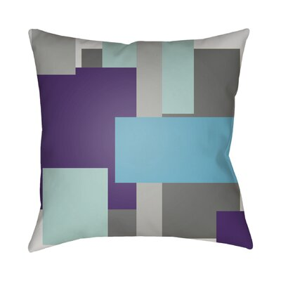 Wakefield Contemporary Geometric Throw Pillow Size: 18 H x 18 W x 4 D, Color: Blue / Purple / Grey