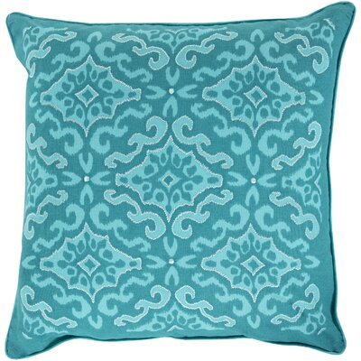 Mammoth Cotton Throw Pillow Size: 18 H x 18 W x 4 D, Color: Teal / Cobalt, Fill Material: Down