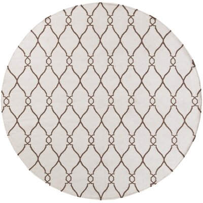 Toups Hand-Woven Ivory Area Rug Rug Size: Round 8