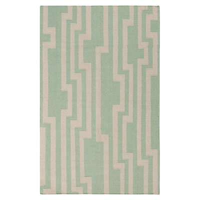 Buckardy Well Green/White Area Rug Rug Size: 5 x 8