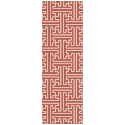 Vihaan Coral/Ivory Area Rug Rug Size: Runner 26 x 8