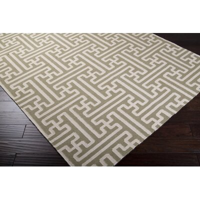 Brinda Hand Woven Wool Sage Area Rug Rug Size: Rectangle 8 x 11