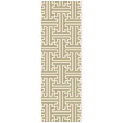 Brinda Hand Woven Wool Sage Area Rug Rug Size: Runner 26 x 8