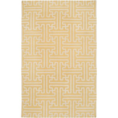 Brinda Gold & Ivory Area Rug Rug Size: 36 x 56