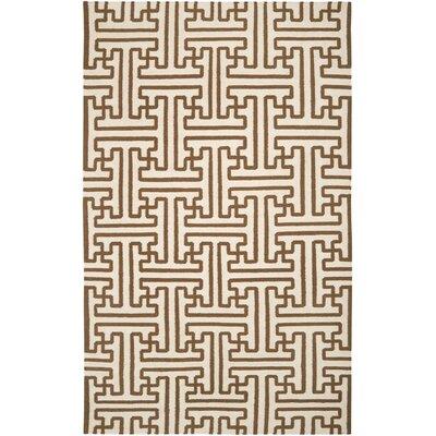 Brinda Golden Brown/Ivory Area Rug Rug Size: 36 x 56