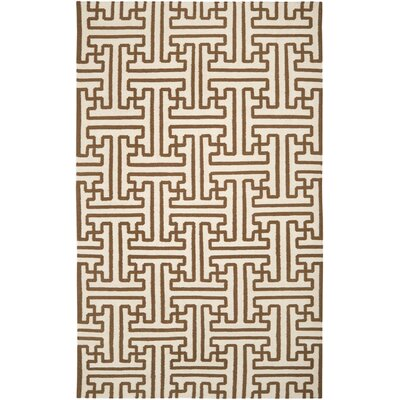 Brinda Golden Brown/Ivory Area Rug Rug Size: 5 x 8