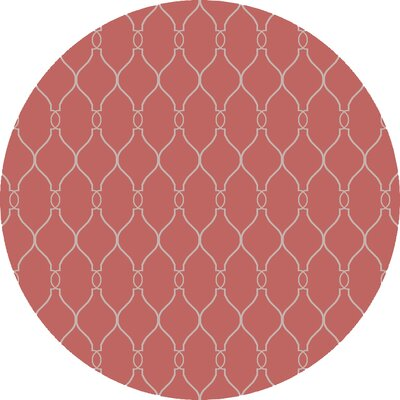 Findley Hand-Woven Coral/Ivory Area Rug Rug Size: Round 8