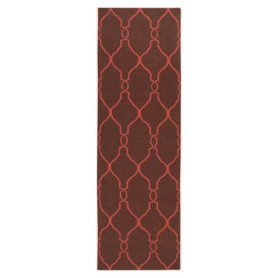 Provincial Brown/Rust Area Rug Rug Size: Runner 26 x 8