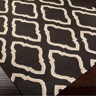 Findley Hand-Woven Black/Butter Area Rug Rug Size: Round 8