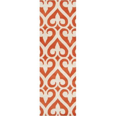 Zuna Wool Tangerine/Ivory Area Rug Rug Size: Runner 26 x 8