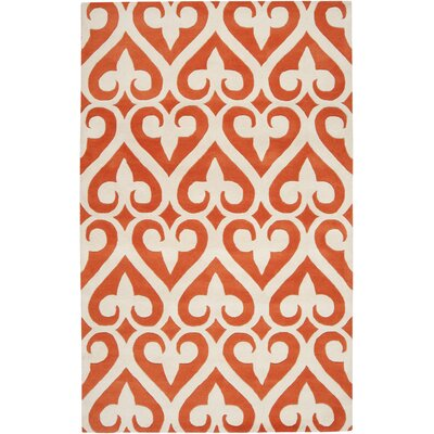 Zuna Wool Tangerine/Ivory Area Rug Rug Size: Rectangle 5 x 8