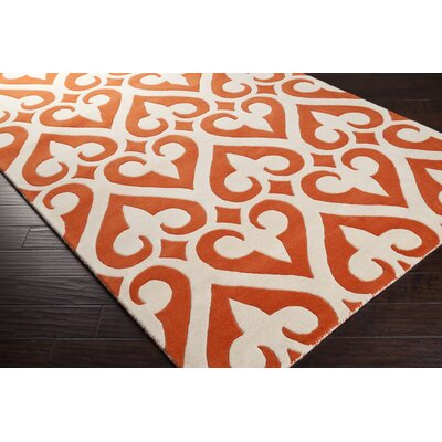 Zuna Wool Tangerine/Ivory Area Rug Rug Size: Rectangle 2 x 3