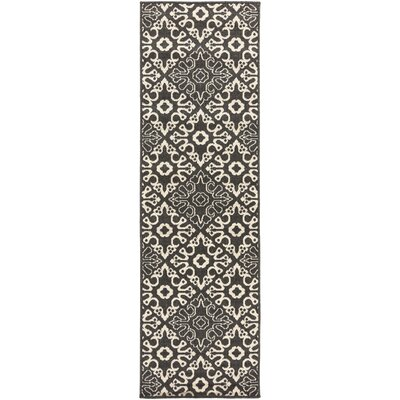 Pearce Black/Cream Indoor/Outdoor Area Rug Rug size: Runner 2'3