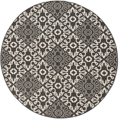 Pearce Black/Cream Indoor/Outdoor Area Rug Rug size: Round 89