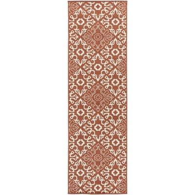 Pearce Rust/Cream Indoor/Outdoor Area Rug Rug size: Runner 23 x 79