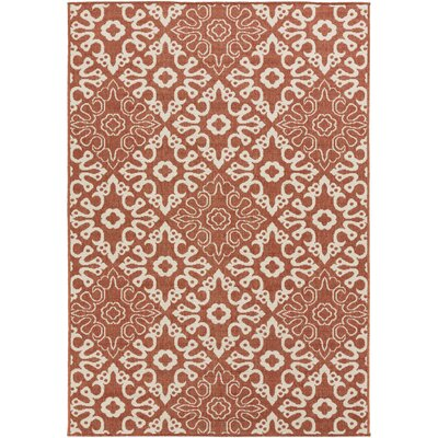 Pearce Rust/Cream Indoor/Outdoor Area Rug Rug size: 36 x 56