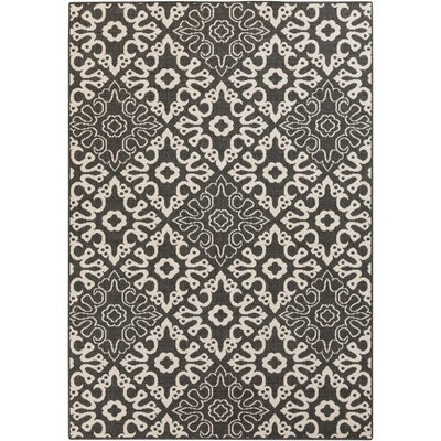 Pearce Black/Cream Indoor/Outdoor Area Rug Rug size: Rectangle 76 x 109