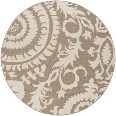 Alfresco Camel/Cream Indoor/Outdoor Area Rug Rug size: Round 89