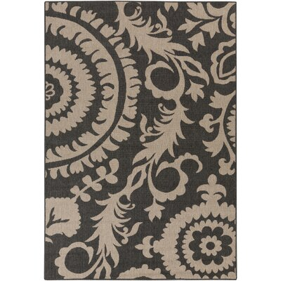 Alfresco Black/Camel Indoor/Outdoor Area Rug Rug size: 36 x 56