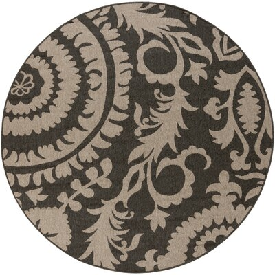 Hattie Pewter & Natural Indoor/Outdoor Rug Rug Size: Round 89