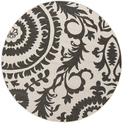 Hattie Parchment & Pewter Indoor/Outdoor Rug Rug Size: Round 89
