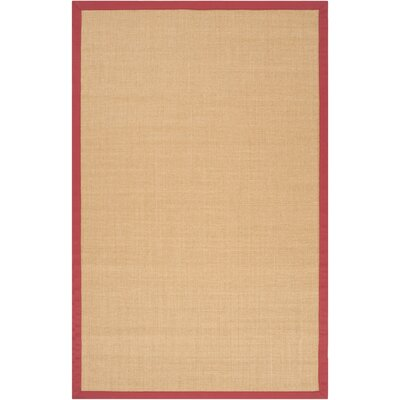 Clinton Hand-Woven Rose/Cream Area Rug Rug size: 6 x 9