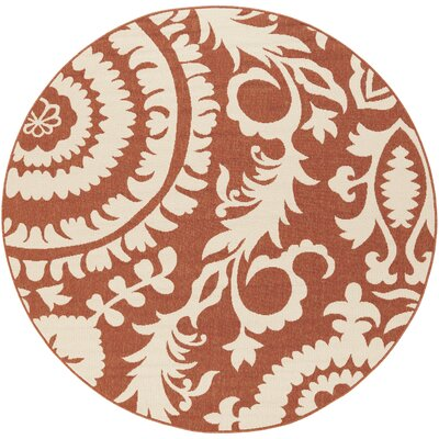 Hattie Brick & Parchment Indoor/Outdoor Rug Rug Size: Round 73