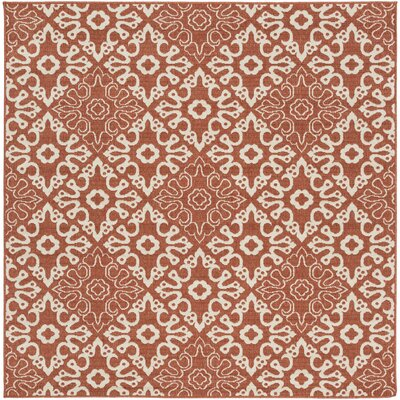 Pearce Rust/Cream Indoor/Outdoor Area Rug Rug size: Square 73