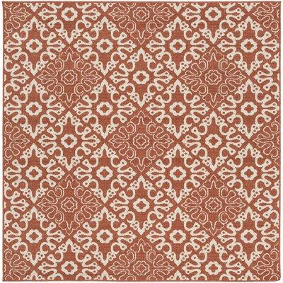 Pearce Rust/Cream Indoor/Outdoor Area Rug Rug size: Square 7'3