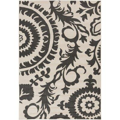 Alfresco Black/Khaki Indoor/Outdoor Area Rug Rug size: 89 x 129