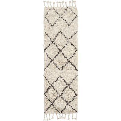 Haven Hand-Woven Wool Ivory Area Rug Rug Size: Runner 26 x 8
