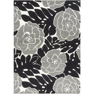 Abigail Hand-Woven Black/Beige Area Rug Rug Size: Rectangle 5 x 8