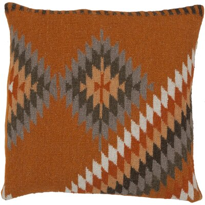 Westall 100% Wool Throw Pillow Cover Size: 18 H x 18 W x 0.25 D, Color: OrangeBrown