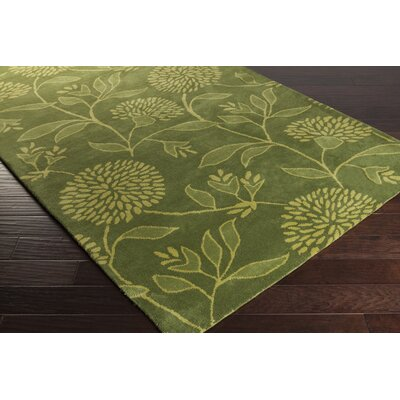 Tuscany Hand-Tufted Lime Floral Area Rug Rug Size: Rectangle 2 x 3