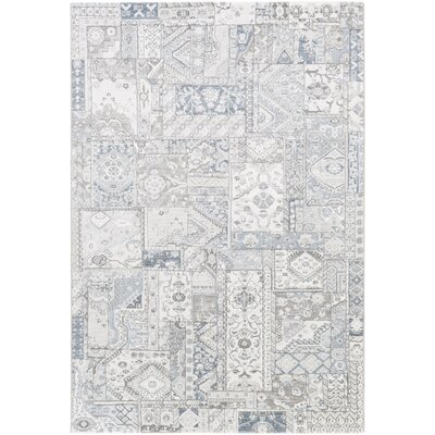 Pickrell White/Light Gray Area Rug Rug Size: Rectangle 92 x 129