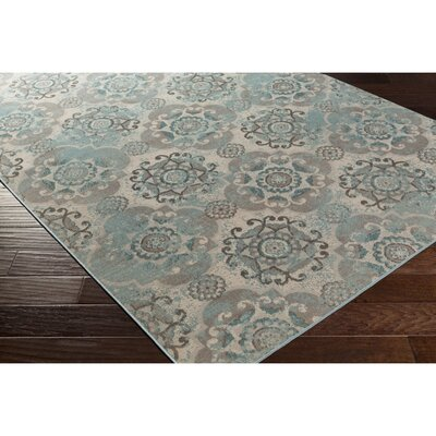 Raquel Machine Woven Teal/Silver/Gray Area Rug Rug Size: Rectangle 54 x 78