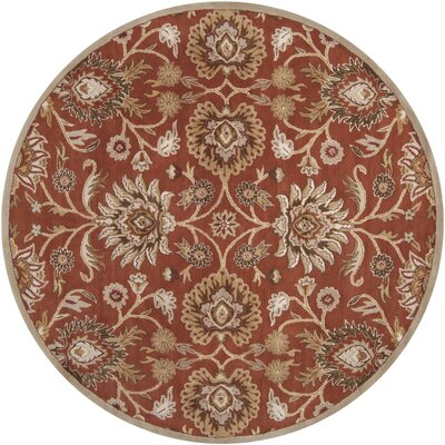 Ferrer Hand-Tufted Rust Area Rug Rug Size: Round 8