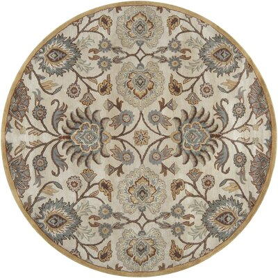 Ferrer Hand-Tufted Ivory Area Rug Rug Size: Round 8