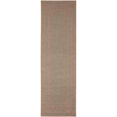 Pearce Beige/Cherry Indoor/Outdoor Area Rug Rug Size: Runner 23 x 79