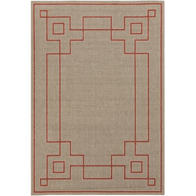 Pearce Beige/Cherry Indoor/Outdoor Area Rug Rug Size: 89 x 129