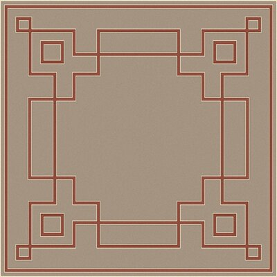 Pearce Beige/Cherry Indoor/Outdoor Area Rug Rug Size: Square 73