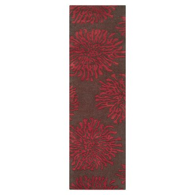Parson Chocolate/Red Area Rug Rug Size: Runner 26 x 8