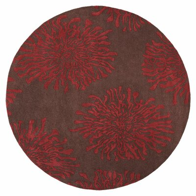 Parson Chocolate/Red Area Rug Rug Size: Round 8