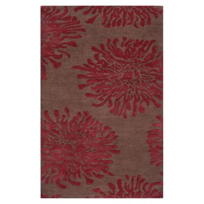 Parson Chocolate/Red Area Rug Rug Size: 33 x 53